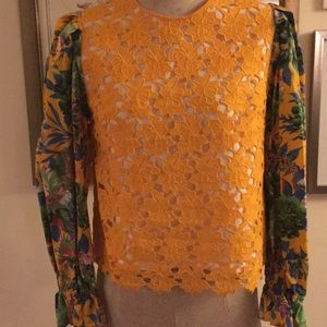 MSGM Lace and Floral Printed Top
